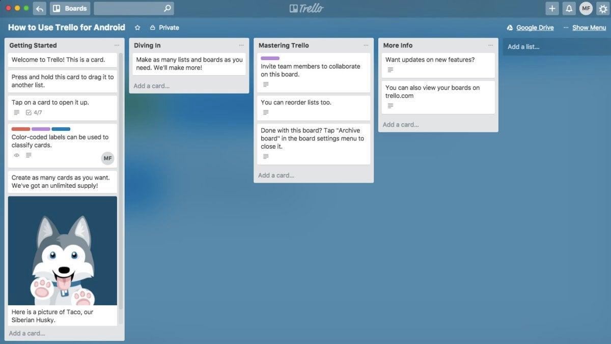 Trello board screenshot