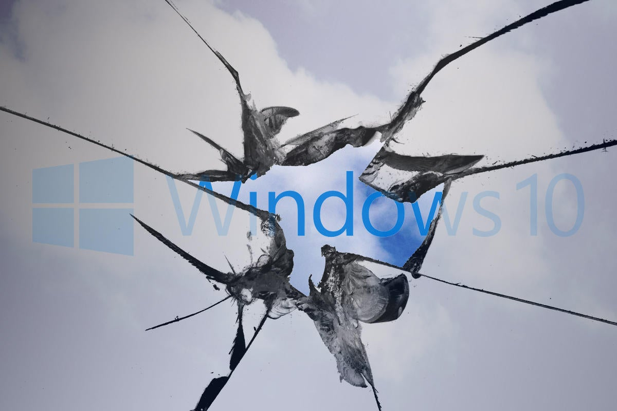 broken window with windows logo in clouds