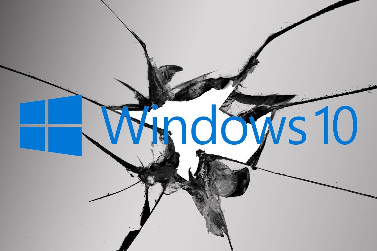 Broken window with Windows 10 logo