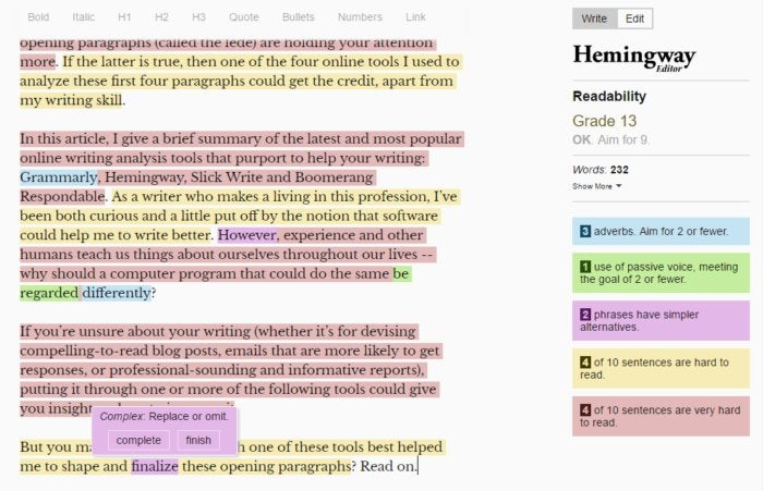 writing analyze hemingway