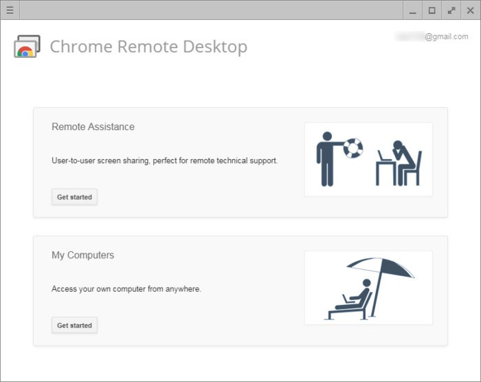 Chrome Remote Desktop main screen