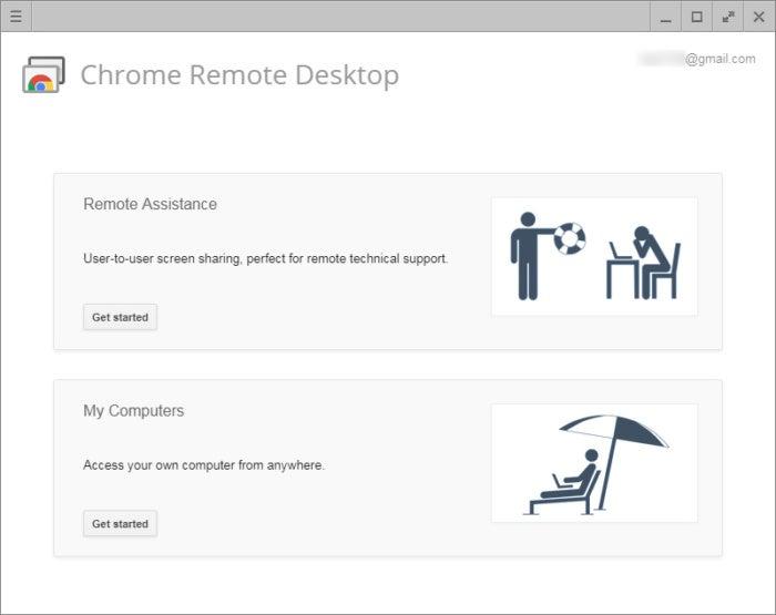 Chrome Remote Desktop main screen