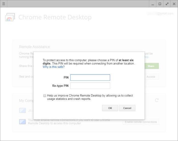 Chrome Remote Desktop PIN screen