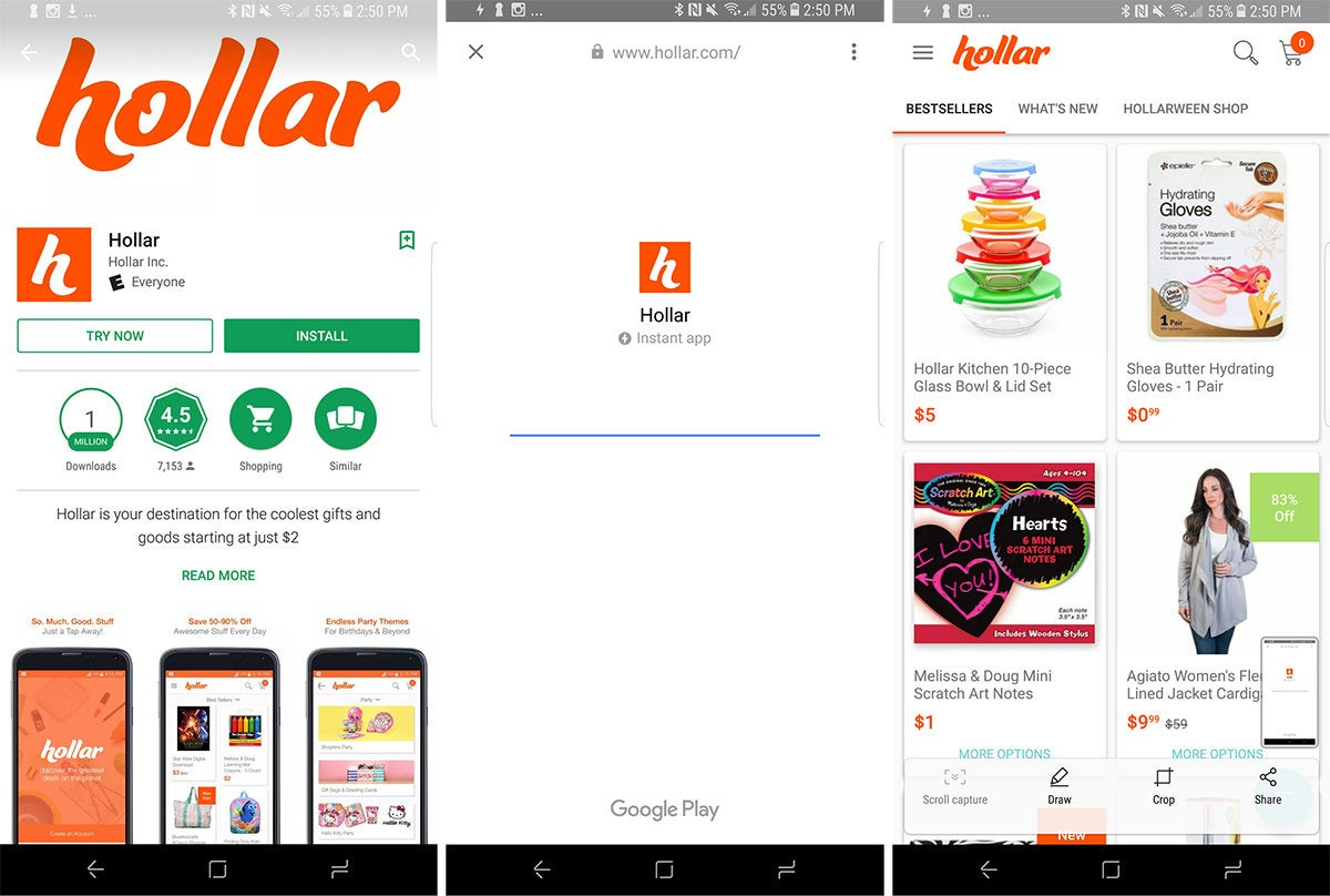 android instant apps hollar