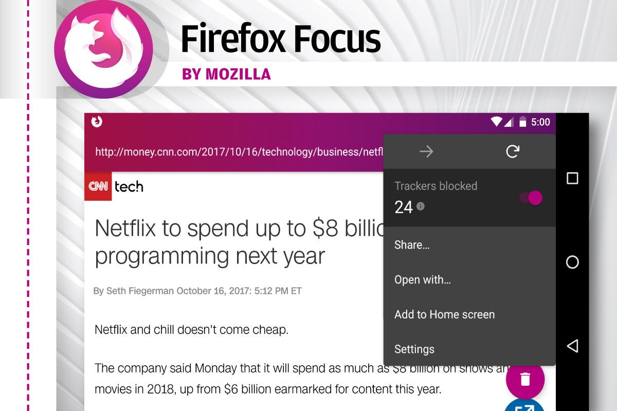 Alternatives to Android's Chrome - Firefox Focus