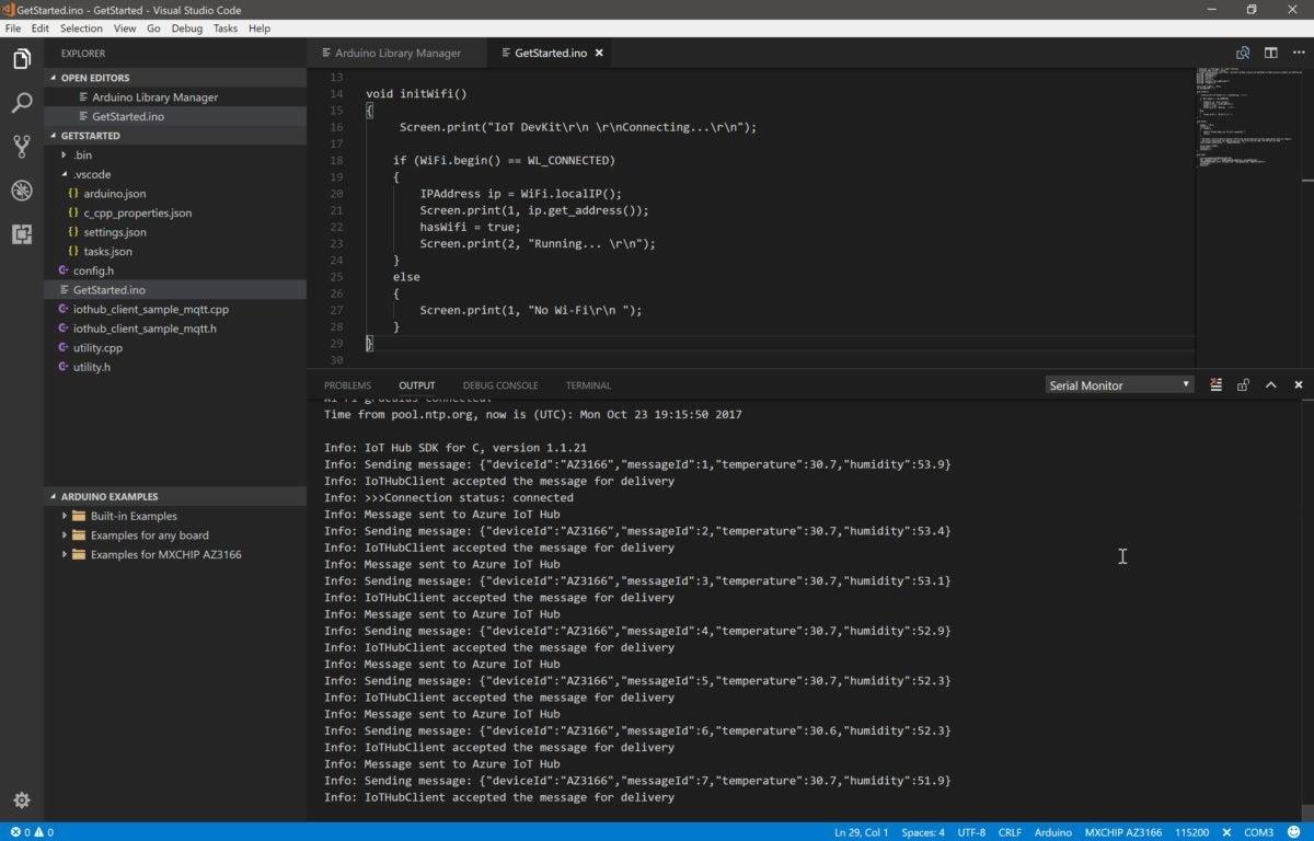 Azure IoT DevKit get started Visual Studio Code