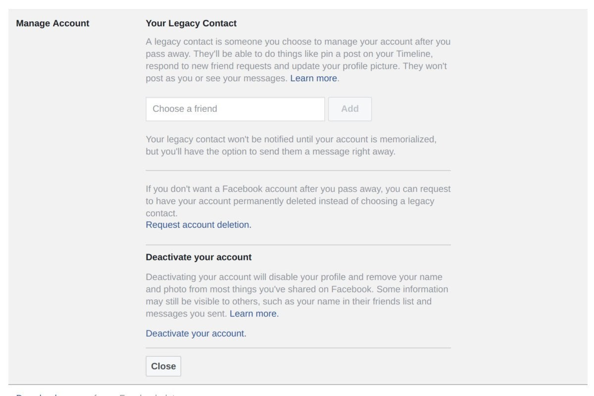 deactivate facebook account manage account