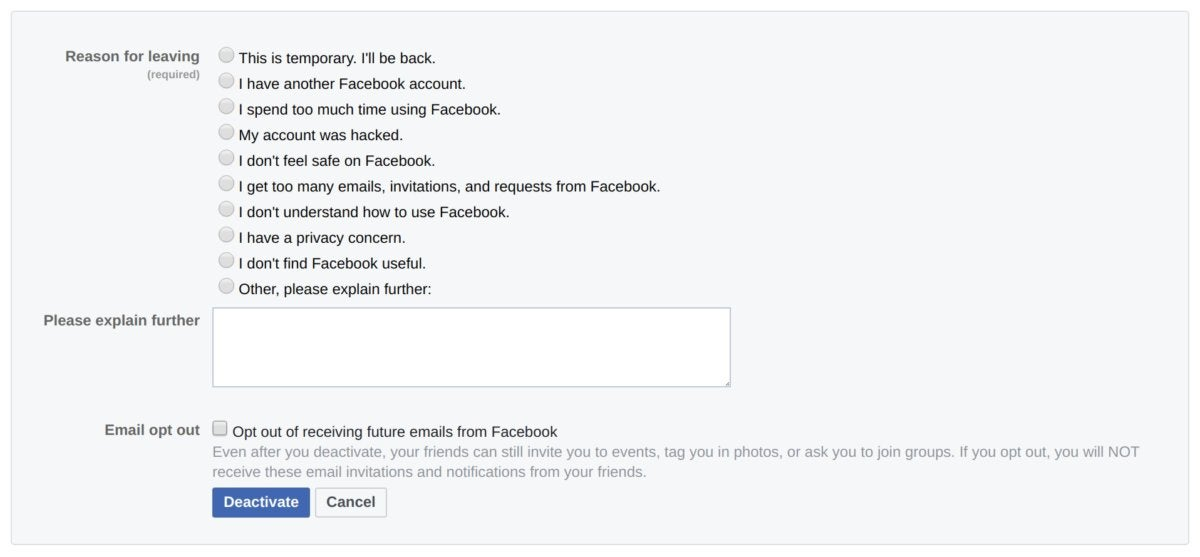 deactivate facebook account reason for leaving