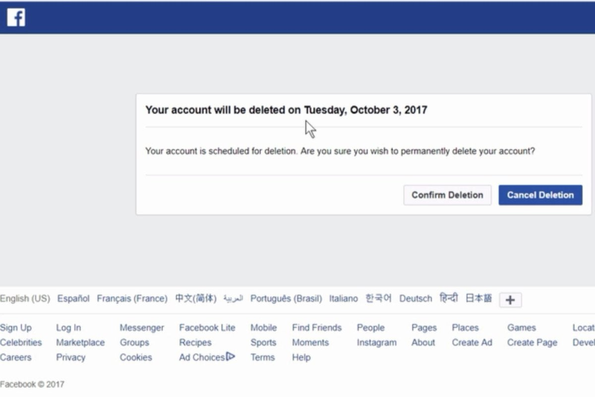 delete facebook account cancel deletion