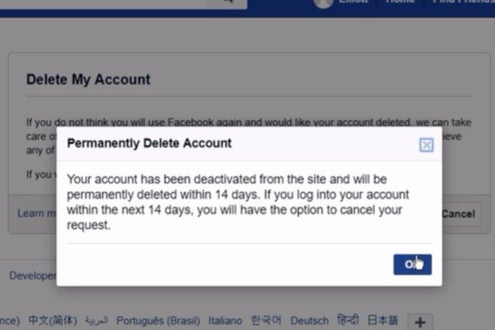 delete facebook account deactivation message