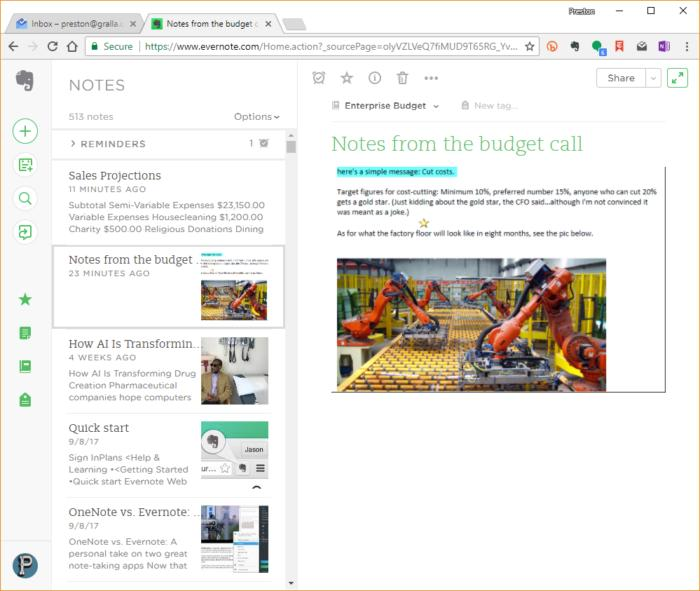 Evernote web app