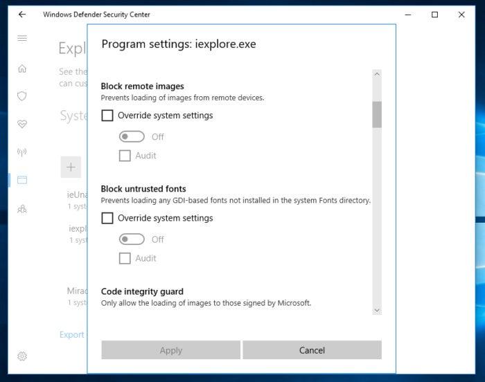 Exploit guard Windows 10 fall creator 5