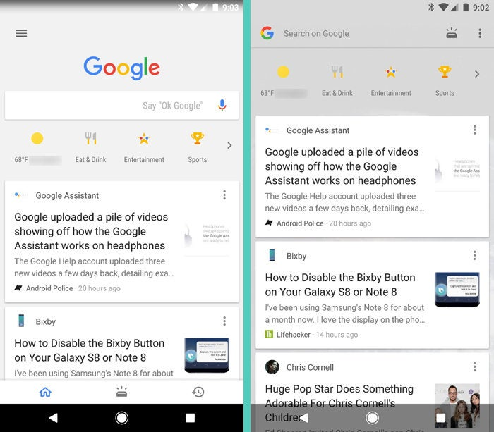 Google Feed: Google App vs Home Screen