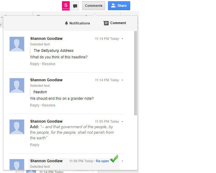 Google Drive collaboration - review comments pane