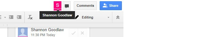 Google Drive real time collaboration - person icon