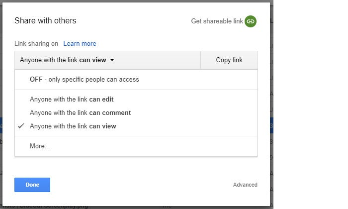 Google Drive collaboration public sharing permissions