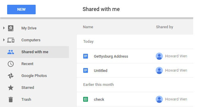 Google Drive collaboration - shared with me