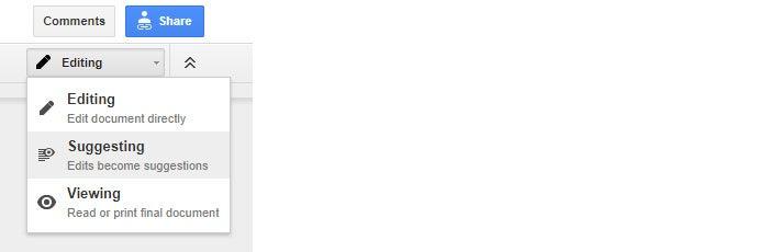 Google Drive collaboration - suggesting menu option