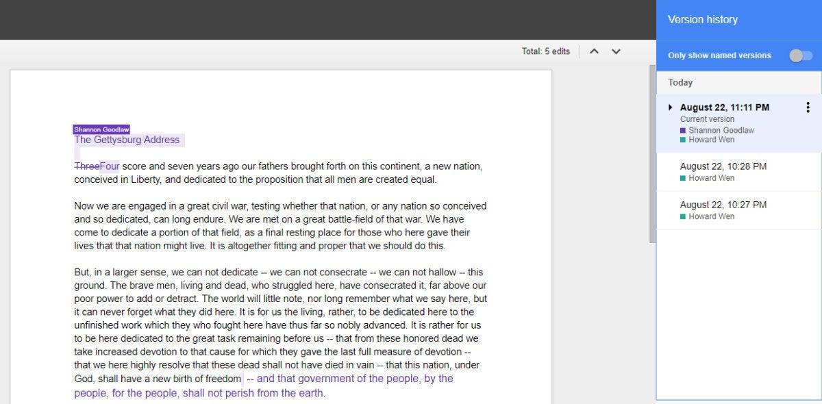 Google Drive collaboration - version history pane