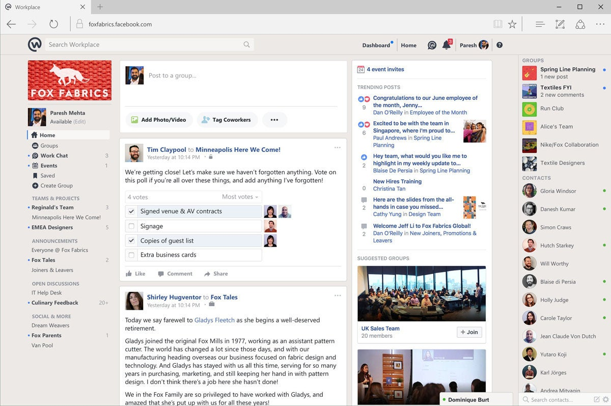 group chat services Facebook Workplace