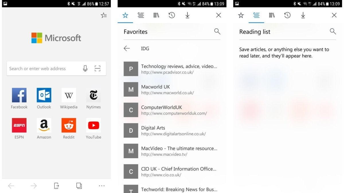Microsoft Edge browser on Android