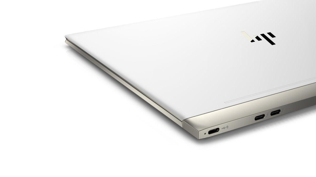 hp spectre 13 laptop aerial rear quarter closed ceramic white
