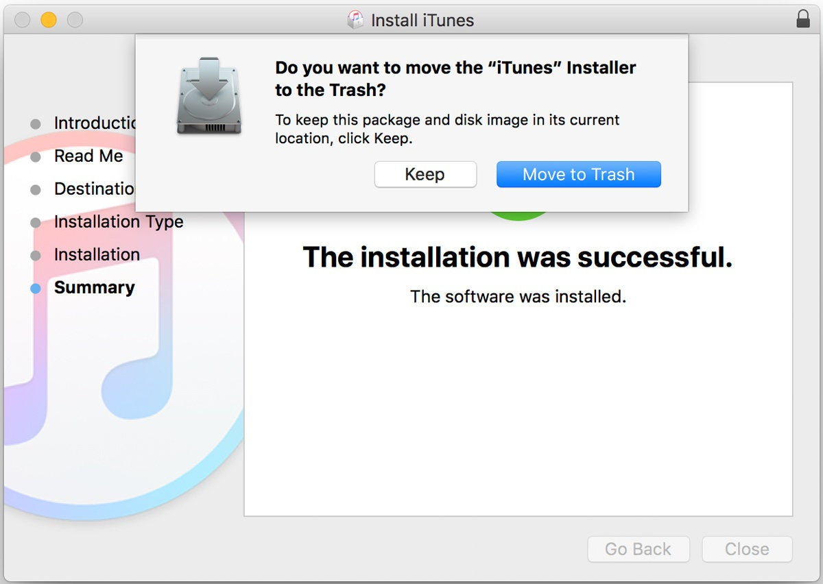itunes 12.6.3 installer trash