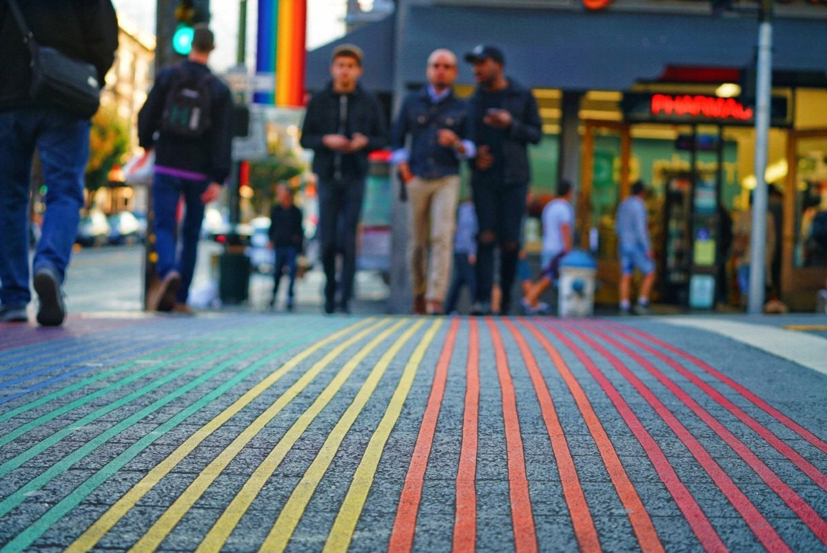 rainbow crosswalk in the Castro District, San Francisco [by Max Templeton - CC0 via Unsplash]