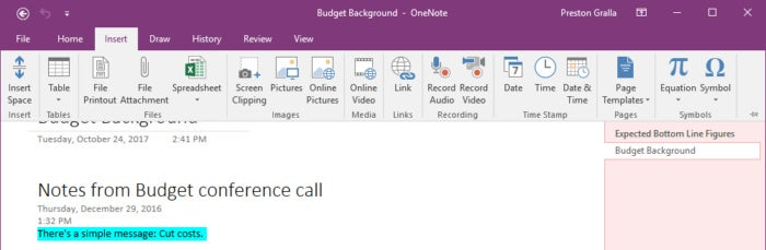 Microsoft OneNote for Windows showing Insert Ribbon tab