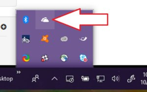 onedrive icon taskbar arrow Fall Creators Update