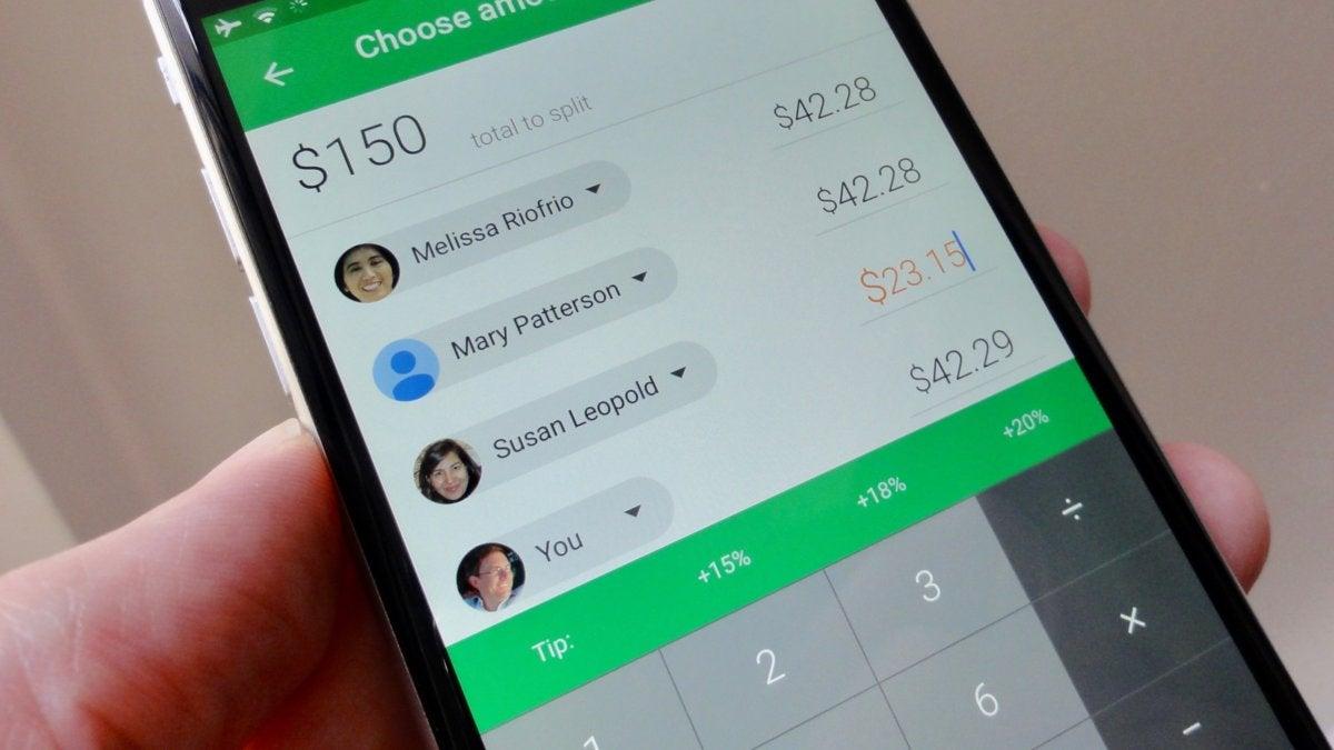 Google Wallet splitting the check