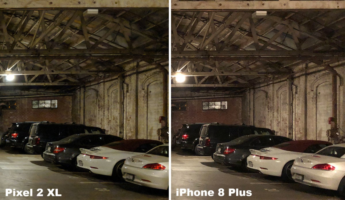 pixel 2 xl versus iphone 8 plus low light