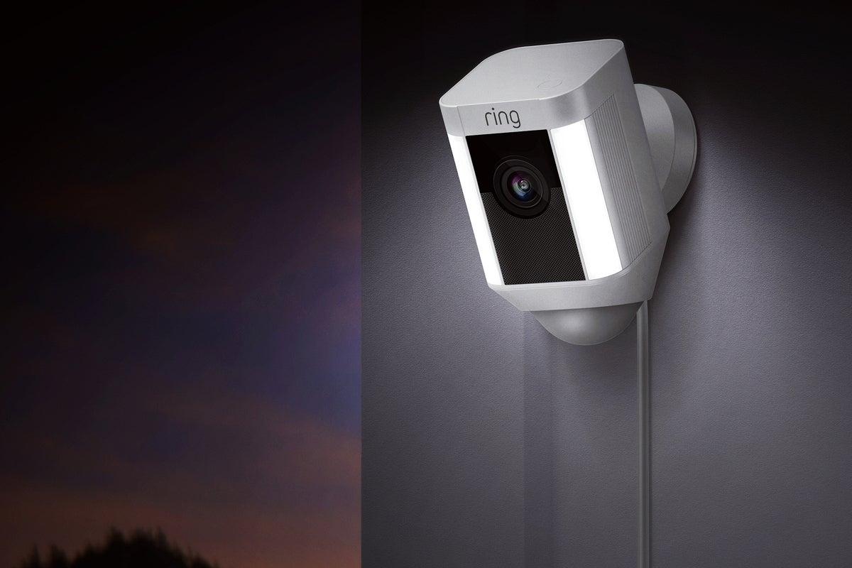 RING Wireless Security Surveillance Camera Spotlight Cam Battery Outdoor White