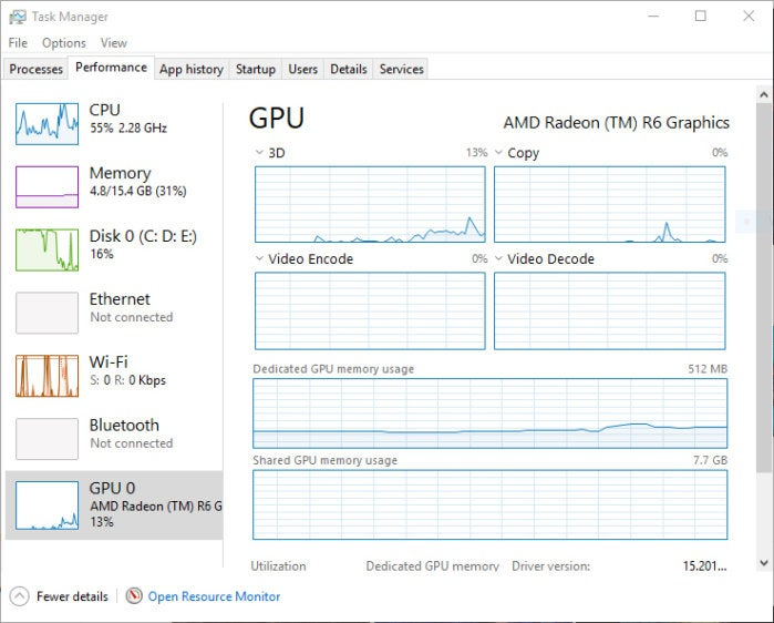 Windows 10 Fall Creators Update - GPU in Task Manager