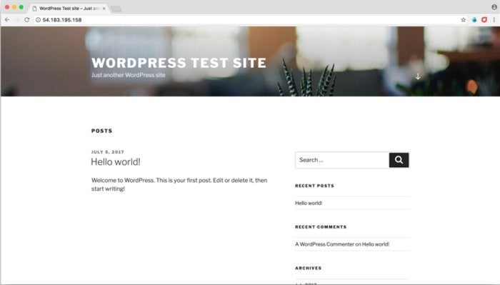 wordpress test site