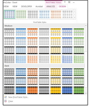 07 choose a colorful pivottable style