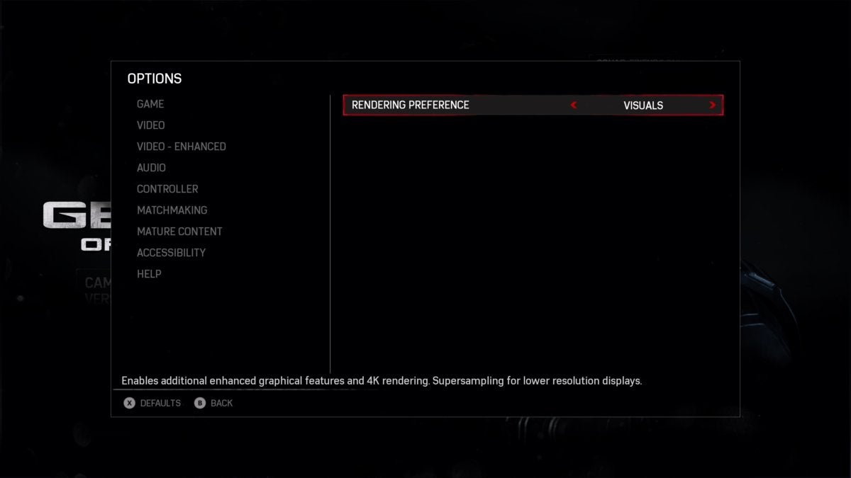 Gears of War 4 options - Xbox One X