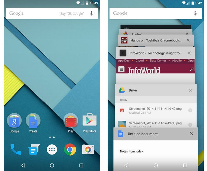 Android versions 5.0 and 5.1 Lollipop