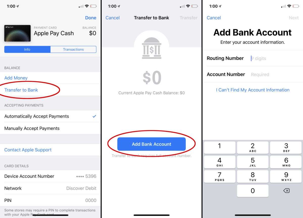 apple pay cash transfer