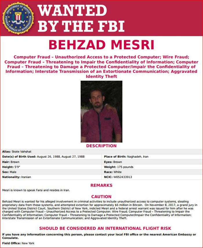 behzad mesri fbi wanted poster