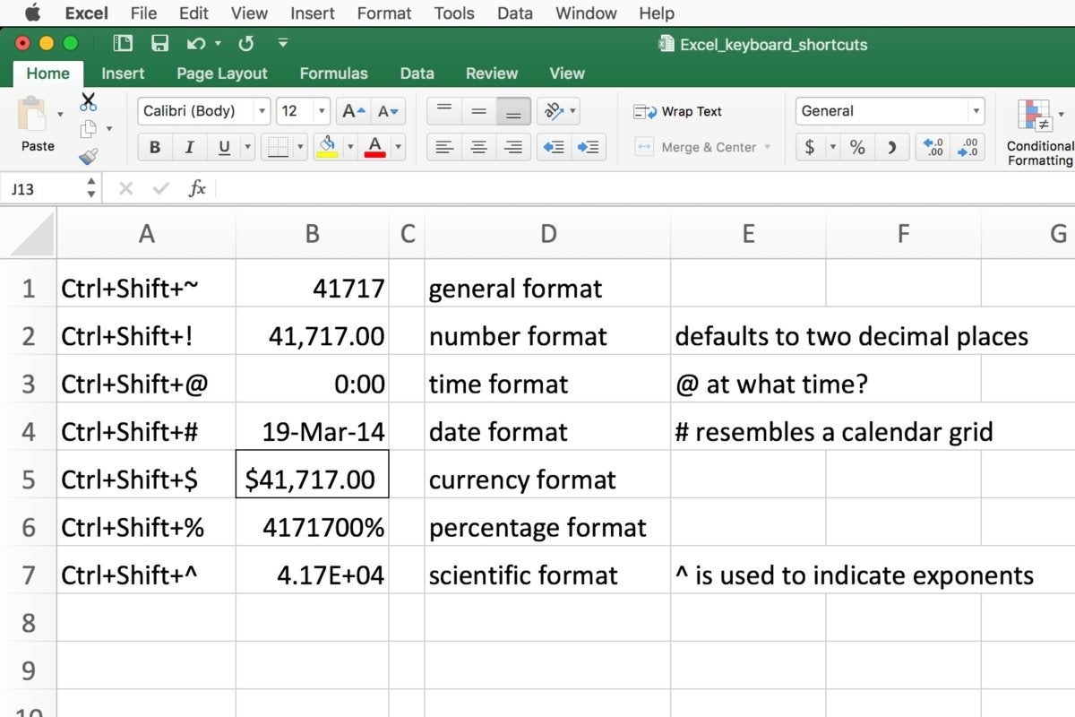 quickly format numbers in Excel