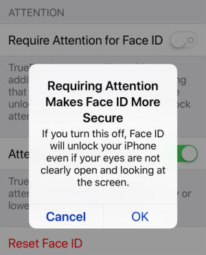 iphone x face id setting