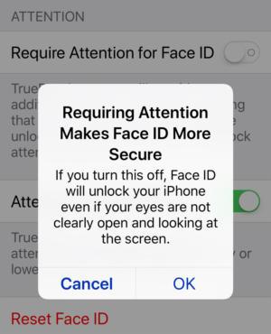 iphone x face id setting