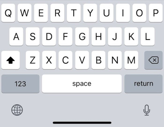 iphone x keyboard space