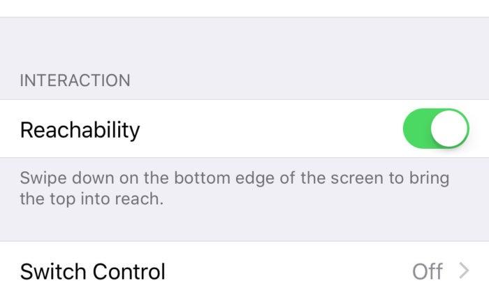 iphonex reachability