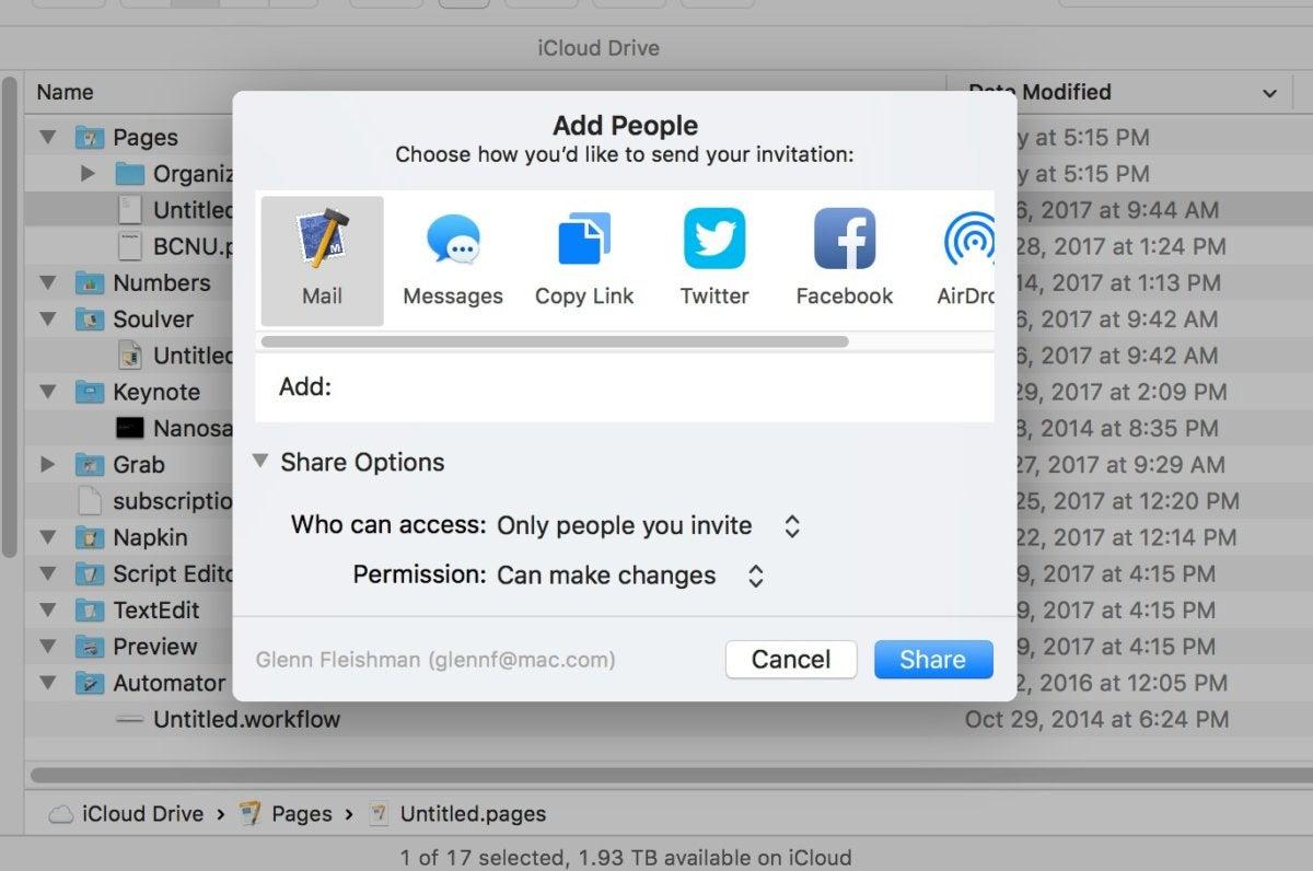 mac911 sharing files in icloud drive