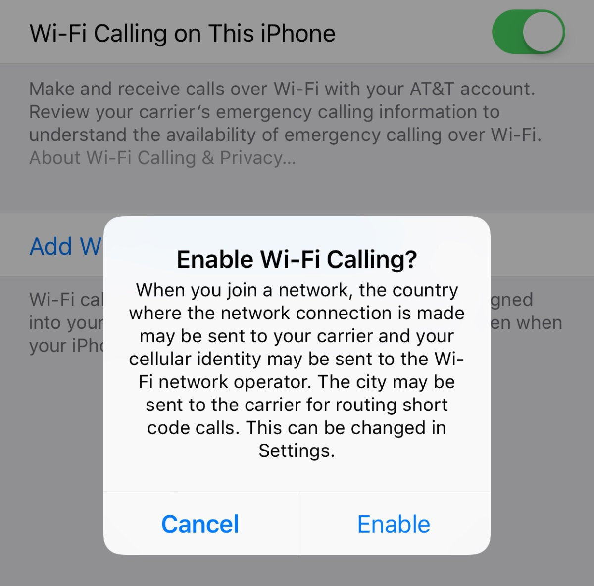 mac911 wifi calling enable