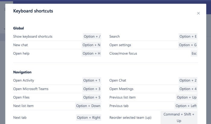 Microsoft Teams keyboard shortcuts