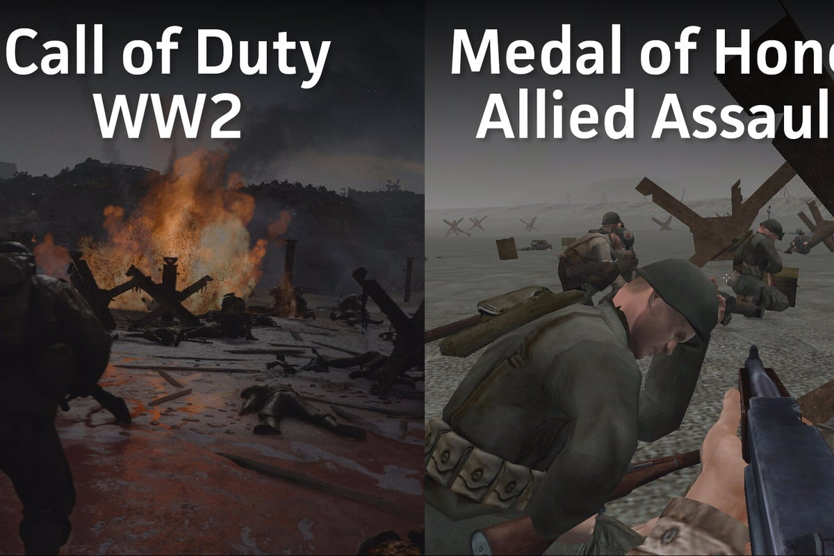 Call Of Duty WWII Vs Medal Honor Allied Assault Storming Normandy Then And Now