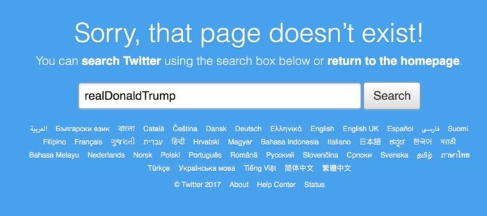 trump twitter account gone